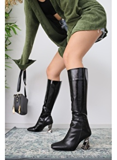 Limoya Siyah Kırışık Rugan Platin Topuklu Çizme